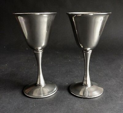 A Pair Of Vintage Silver-Plated Italian Wine Goblets