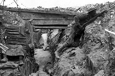 New 5x7 World War I Photo: Entrenched British Troops, Battle of the Somme - 1916
