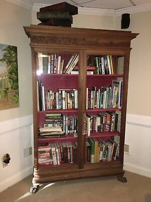 Antique Book case, cabinet, Large with 3 shelves, lion paw feet