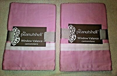 "2 Window Valances Cantonniere 100% Cotton Pink by The PeanutShell 53"" x14"""