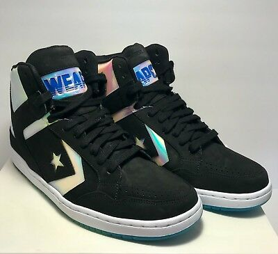 Converse Mens Size 10 Weapon Mid Black Vision Hologram Holographic McFly  Sneaker 341e73d62