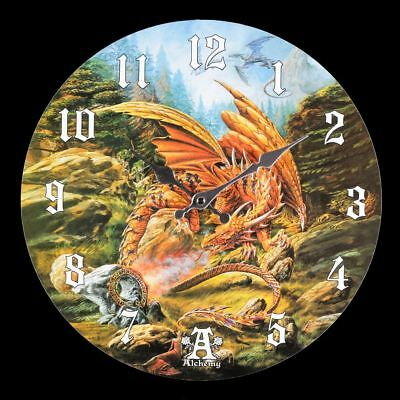 Wall Clock with Dragon - of the Runering - Alchemy Decoration Watch Gothic