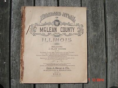 1914 Plat Book Mclean County Illinois Maps Advertising Bloomington Normal Yates