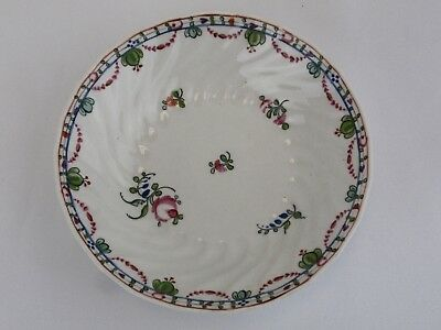 Antique 1800's English  Porcelain Scalloped Floral Small Dish Soft Paste
