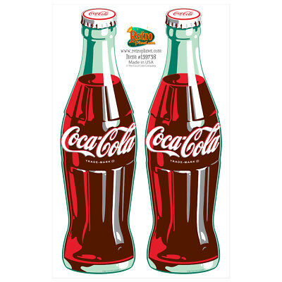 Coca-Cola 2 Green Contour Bottles Vinyl Sticker Sheet 2 Laptop Car Decals