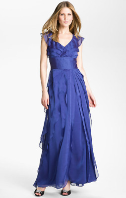 Adrianna Papell Blueberry Chiffon Pleated Mother Bride Groom Gala Dress NWT