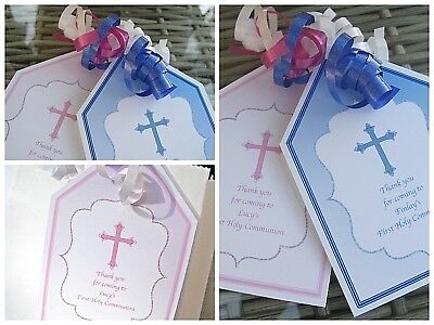 5 x PERSONALISED FIRST COMMUNION CHRISTENING BAPTISM gift tags labels party bags