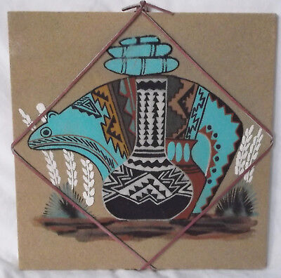 "Southwestern Native American Sand Art ""Creation of Life"" Signed 12"" x 12"""