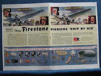 1942 Firestone Tire & Rubber  W.W. II  ALL OUT FOR VICTORY ~2 Pg Ad of Products