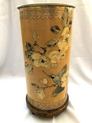 Vtg Shabby Chic Florentine Tole Bluebird Magnolia Tall Umbrella Stand Can Holder