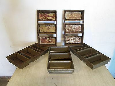 "Lot Of (5) ""ekco/glaco"" H.d. Commercial (3) Bread Loaves Strapped Baking Pans"