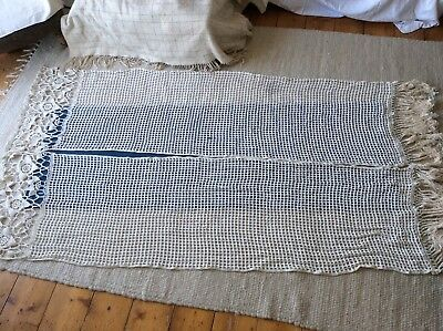2x vintage linen thread antique French thick crochet curtain panels 1900's old