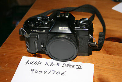 Ricoh KR-5 SUPER II 35mm Manual Focus SLR Camera Body With Case, Strap and Cap