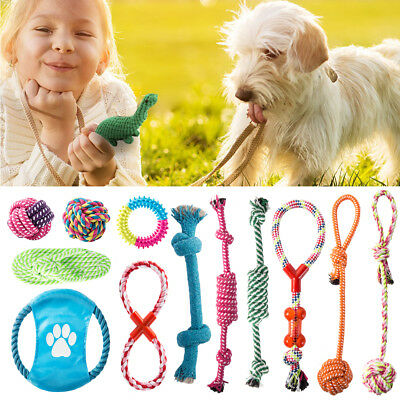Dog Chew Toys Rope 10 Pack Set Pet Puppy Teething Tug Assortment For Small Large