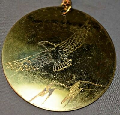 "Vintage Marked ""Terry Hinkel '96"" Brass Scrimshaw Eagle Mountain Pendant Native"