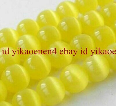 AAA++ 8mm Mexican Yellow Opal Gemstone Round Loose Bead 14''