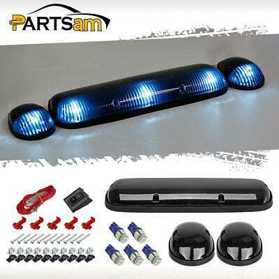 3xSmoke Cab Roof Top Clearance Lights+161 5050 Ice Blue LEDs for 02-07 Chevy/GMC