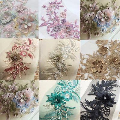 3D Embroidery Flower Laces Bridal Applique Pearl Beaded Tulle DIY Wedding Dress!