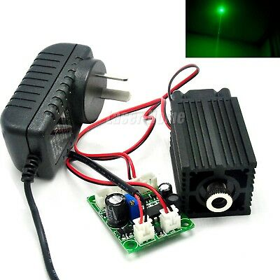80mW 532nm Green Focusable Dot Laser Diode Module Driver TTL Fan w/ 12V Adapter
