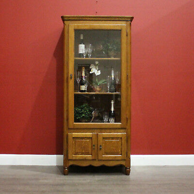 Antique French Oak And Glass Door China Cabinet Display Cupboard