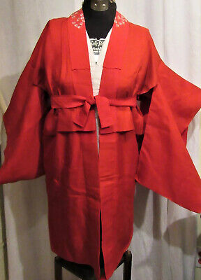 Hand embroider Red Silk Cotton Lawn Kimono + Gauze Under Wrap + Obi Belt