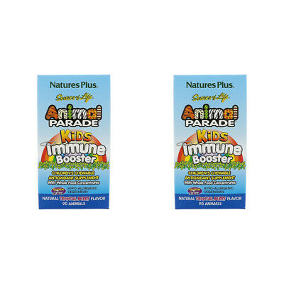 2X Nature's Plus Source Of Life Animal Parade Kids Immune Booster Gluten Free