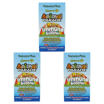 3X Nature's Plus Source Of Life Animal Parade Kids Immune Booster Gluten Free