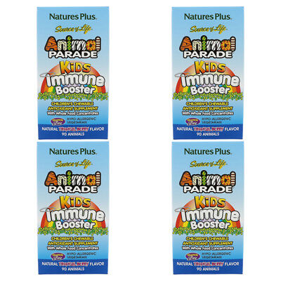 4X Nature's Plus Source Of Life Animal Parade Kids Immune Booster Gluten Free