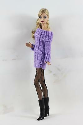 3PCS Purple woollen sweater+Legging+Boots Dress/Clothes/Outfit For 11.5in.Doll