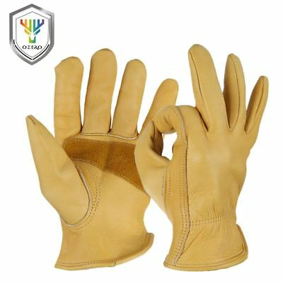 Men's Work  Gloves Cowhide Working Driver Sports Moto Safety Grip Palm Padding