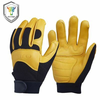Men's Work Driver Gloves Leather Security Protection Wear Safety Workers Working