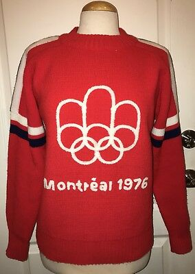 RARE Vintage 1976 Montreal Canada Red w/ White & Blue Olympic Games Sweater