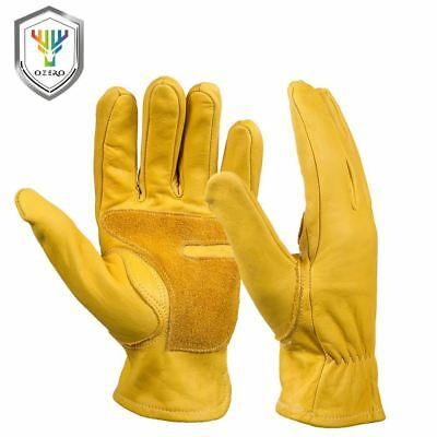 Work Gloves Men's Leather Security Protection Wear Safety Workers Welding Wearab