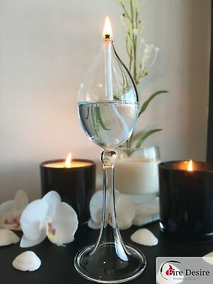 Elegant Tall Glass Stem Oil Lantern. Comes With Wick.