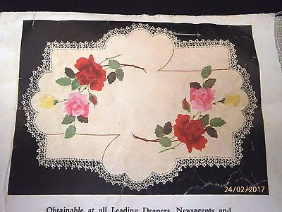 """~Vintage Myart Tray Cloth - """"rose Spray"""" - New & Unused, Ready To Complete-1380~"""