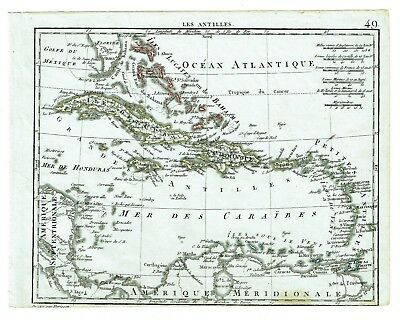1809 HERISSON CARIBBEAN map  Original Antique Florida Antilles Cuba Puerto Rico
