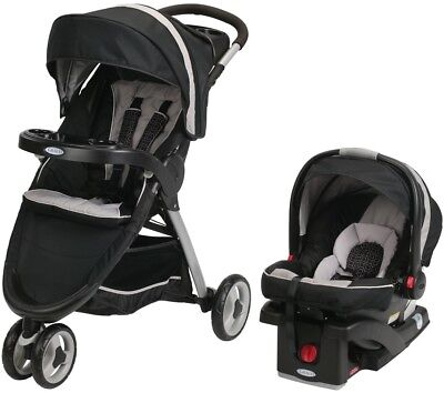 Graco Black Fast Action Sport SnugRide Click Connect 35 Car Seat And Stroller