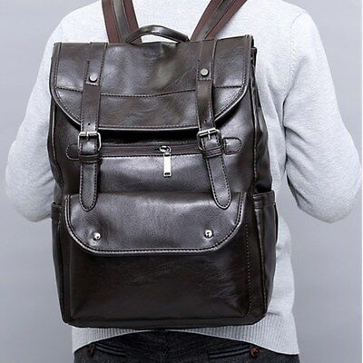 Men Leather Backpack Travel Camping Satchel Rucksack Laptop Shoulder School Bag