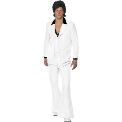d97fc7eee0b 1970s Suit Costume - 70s Fancy Dress Disco Mens Fever White Saturday Night
