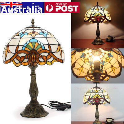 AU Art Table Lamp Victorian Desk Lamp Stained Glass Shade Bedside Decor 220V