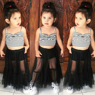 Striped Kids Baby Girls Sleeveless Crop Tops Shorts Skirt Dress Outfits Clothes