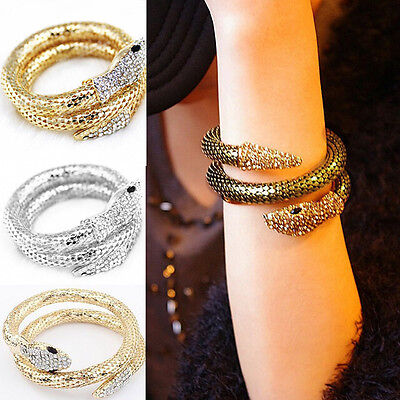 Creative Punk Rhinestone Snake Curved Chunky Stretch Bangle Cuff Bracelet Gifts