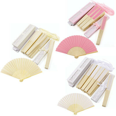 10 Wedding Beach Theme Fan Guest Gift Table Favour Chinese Silk w Paper Box