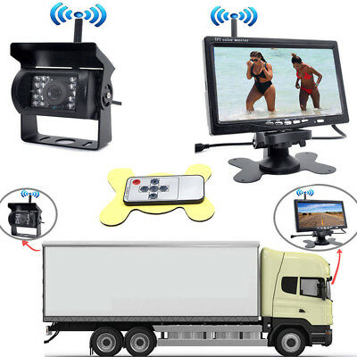 Wireless Rear View Back up Camera Night Vision System + 7'' Monitor for RV Truck