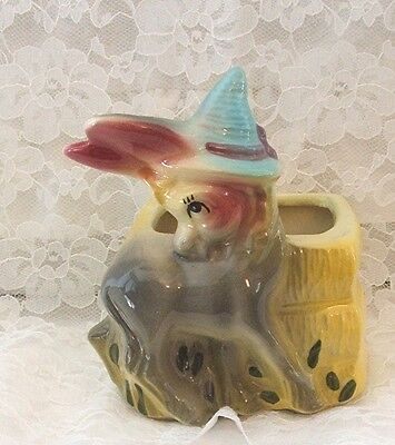 AMERICAN BISQUE DONKEY with BLUE HAT by BALE OF HAY 1950'S