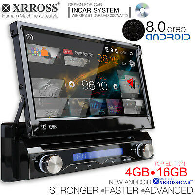Xrross Car DVD radio player Android 8.0 GPS Navigation WiFi single Din 4GB 16GB