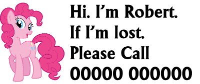 Pinky Pie Kids Safety HOLIDAY ..EMERGENCY Phone Number Temporary Tattoo X 3