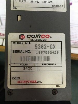 Coinco 9302-GX 34v Vending Machine Coin Accepted Mechanism Changer