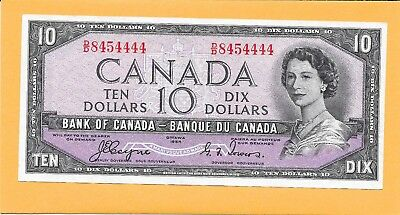 1954 Deliv Face Canadian 10 Dollar Bill D/d8454444 Very Nice (Circulated W/fold)