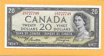 1954 Deliv Face Canadian 20 Dollar Bill C/e8727748 Very Nice (Circulated W/fold)
